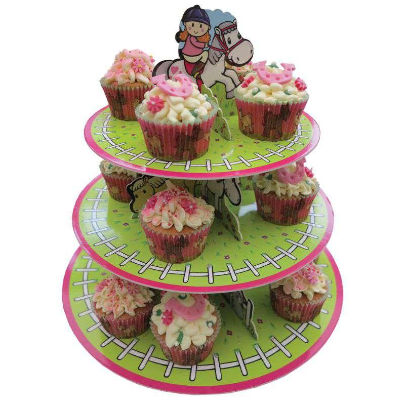cupcake etagere pferde party. Black Bedroom Furniture Sets. Home Design Ideas