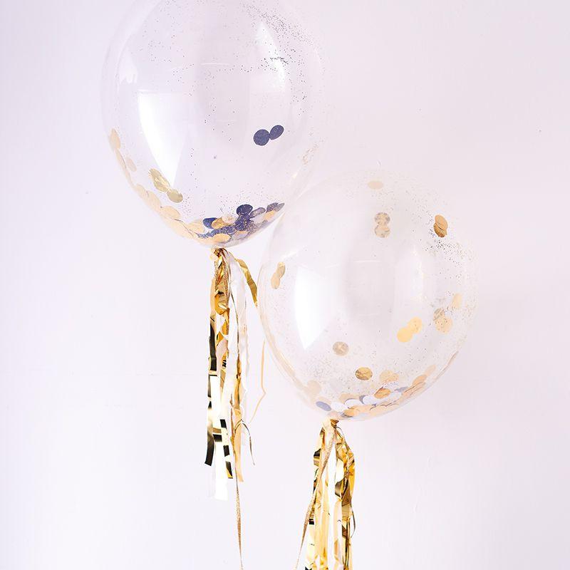 luftballon set konfetti schwarz gold. Black Bedroom Furniture Sets. Home Design Ideas